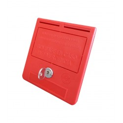 Caixa de chave de emergência texto em espanhol com chave
